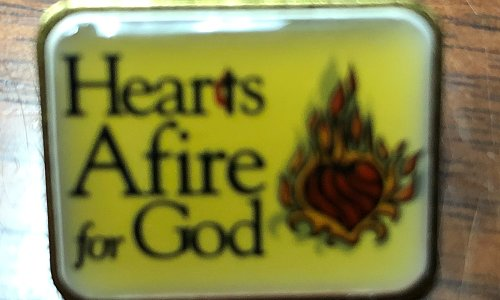 Hearts Afire for God Pin